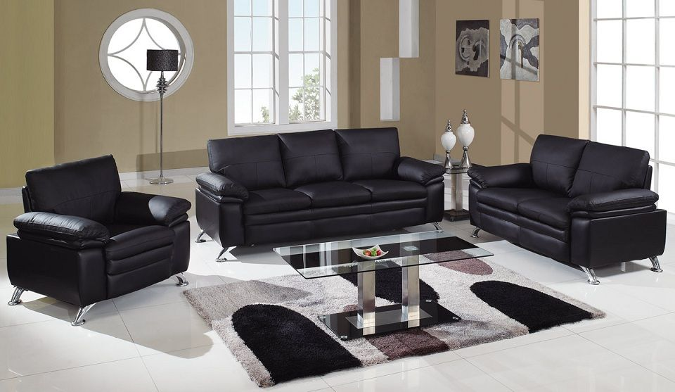 Soft padded bonded leather contemporary living room set for Leather living room sets