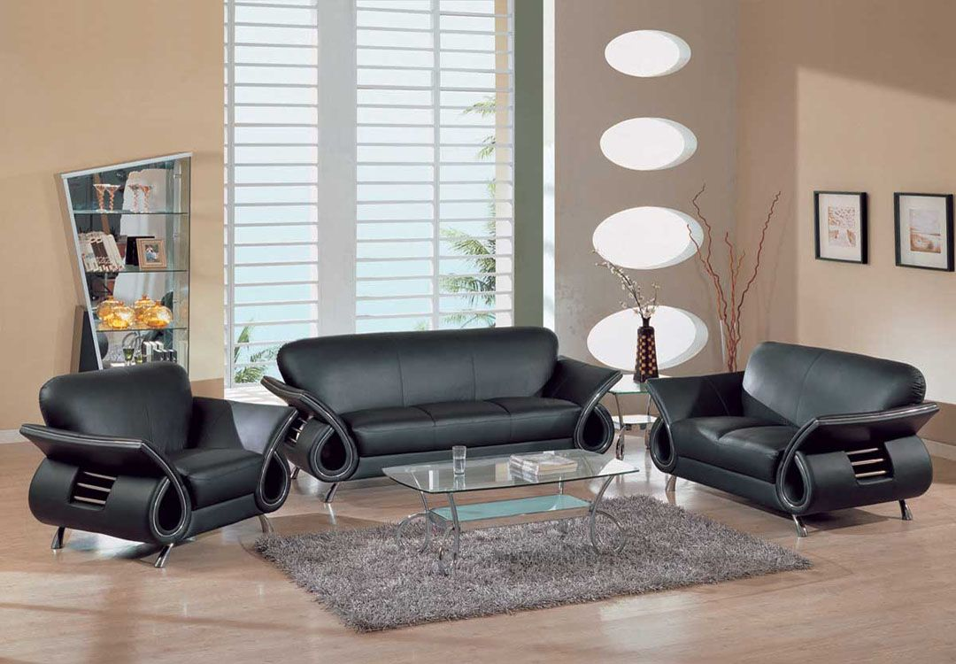 Contemporary dual colored or black leather sofa set w chrome details dallas texas gf559 for Living room with black leather furniture