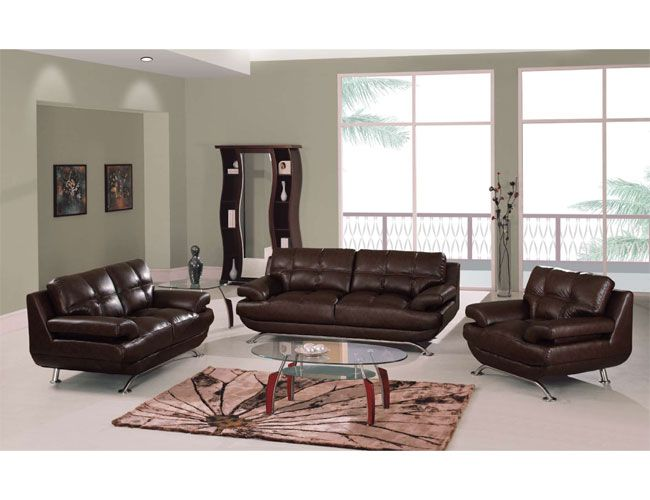 Three piece living room set in durable leather upholstery for Quality living room sets