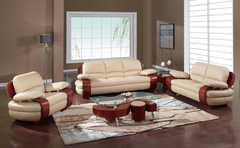 Plush Padded Arm Tan Leather Covered Living Room Set Jacksonville Florida GF965