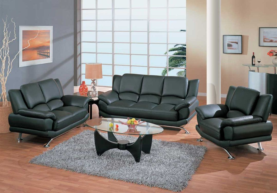Contemporary Living Room Set in Black Red or Cappuccino Leather