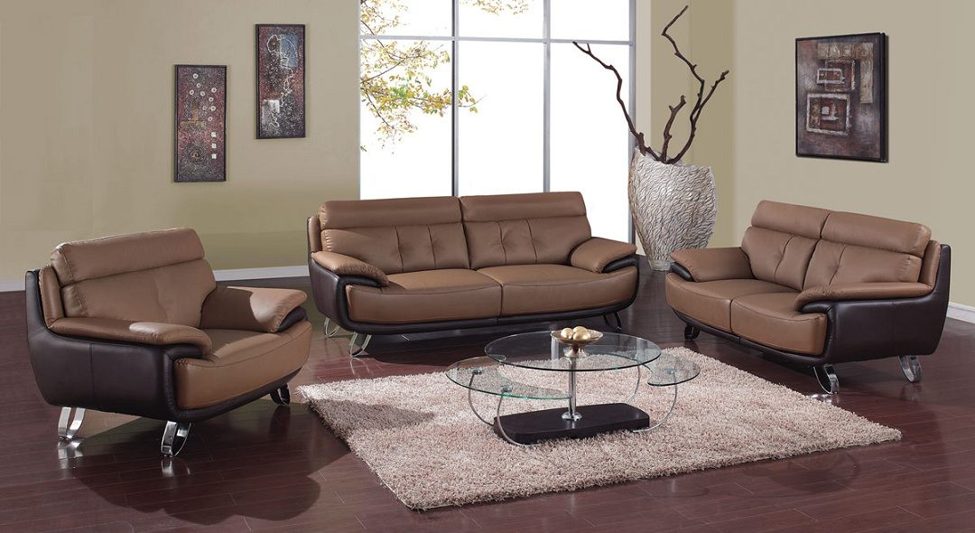 Contemporary tan brown bonded leather living room set st for Contemporary living room sets