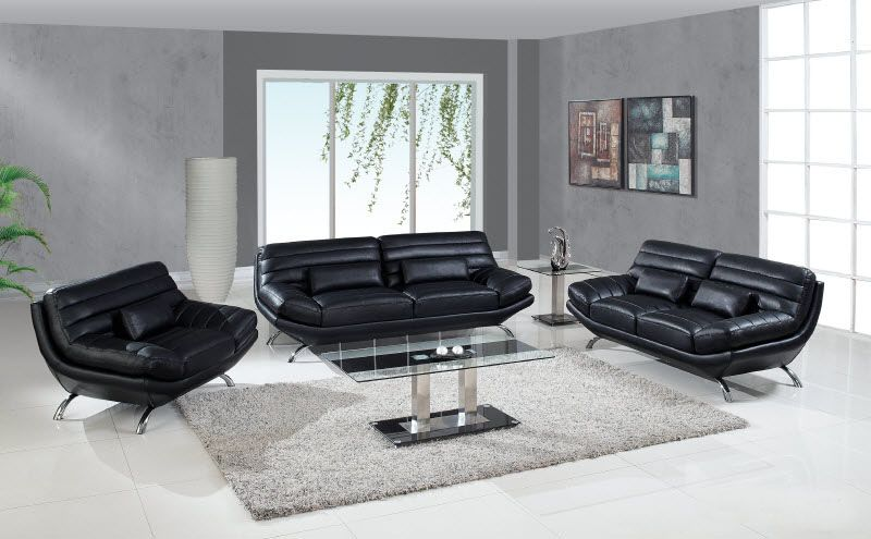 Black Contemporary Leather Living Room Set with Throw Pillows Portland ...