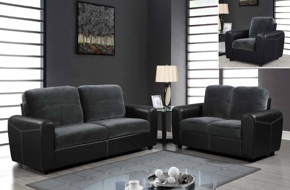 Contemporary two toned leather and microfiber upholstered for Family room sofa sets