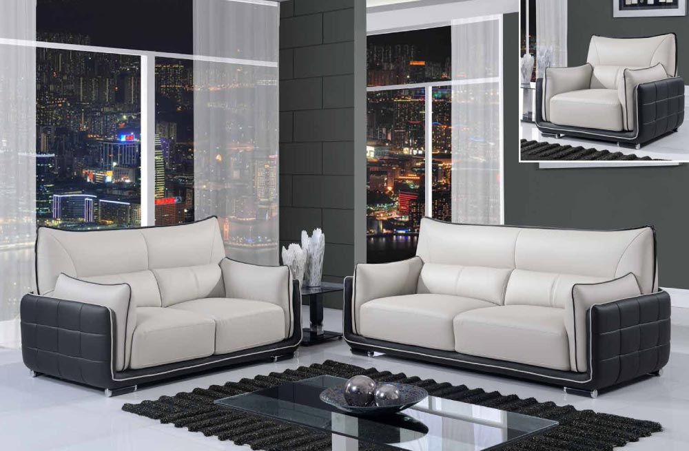 black and grey contemporary 3 piece bonded leather sofa set boston
