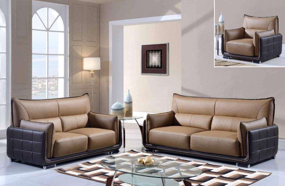 Tan And Brown Contemporary 3 Piece Bonded Leather Sofa Set Washington