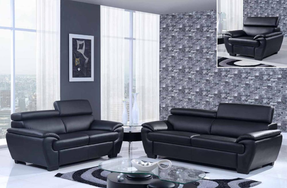 Contemporary bonded leather 3 piece black sofa set el paso for 3 piece black modern sectional sofa