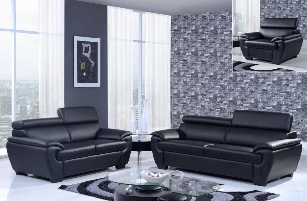 Contemporary Bonded Leather 3 Piece Black Sofa Set El Paso