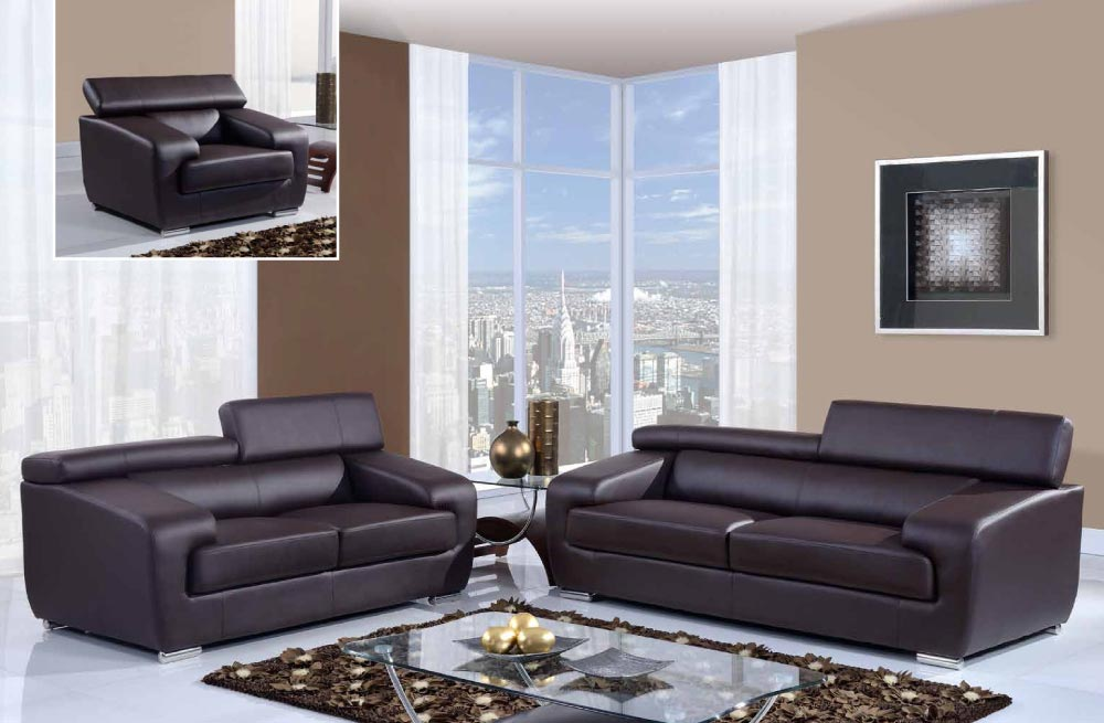 Brown Bonded Leather 3 Piece Sofa Set With Adjustable