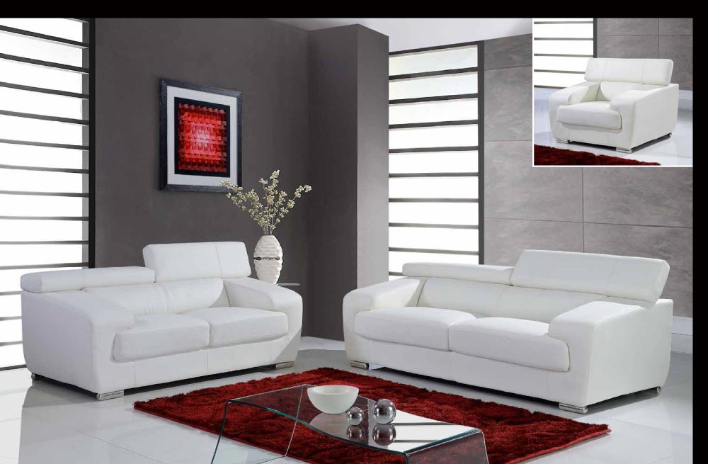Full leather white contemporary sofa set with adjustable for Contemporary sofa set