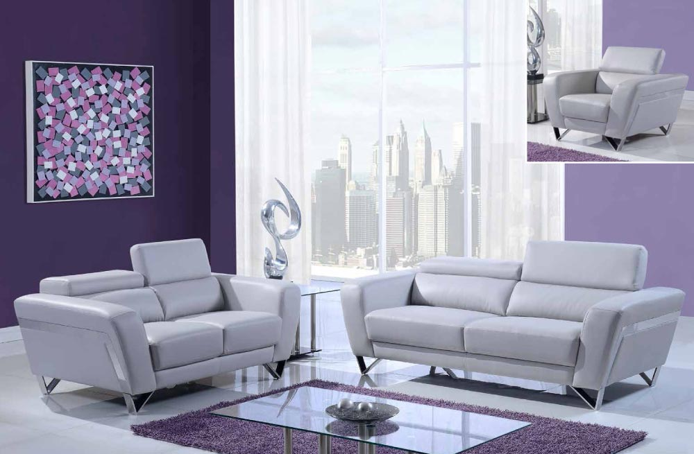 Gray leather sofa set with chrome legs and adjustable for Grey sofa set