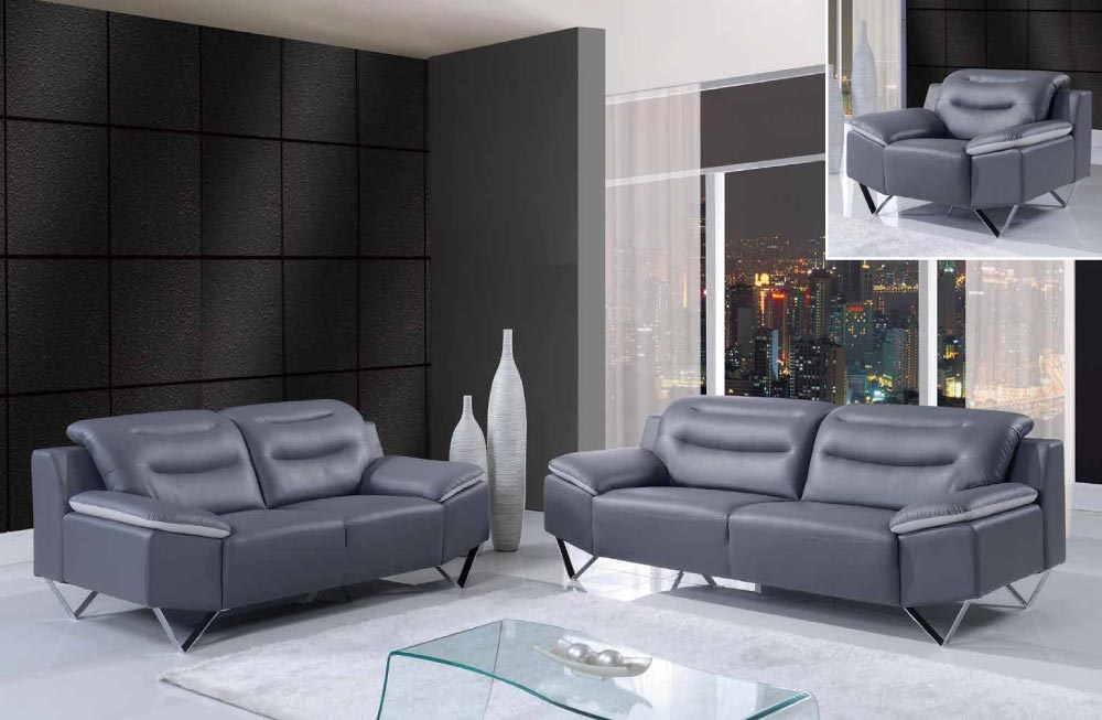 Contemporary Bonded Leather 3 Piece Sofa Set With Chrome