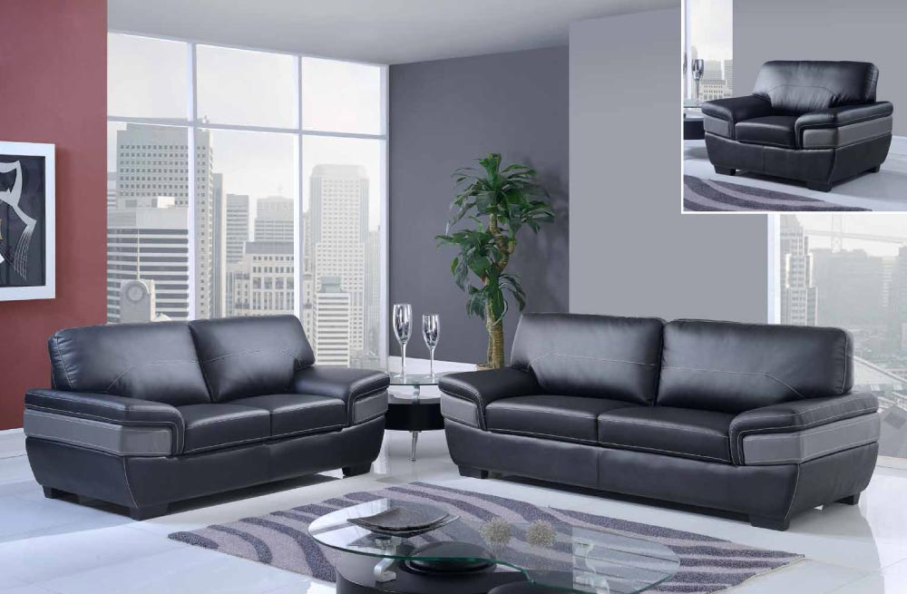 Trendy black and dark grey contemporary bonded leather for Black living room furniture sets