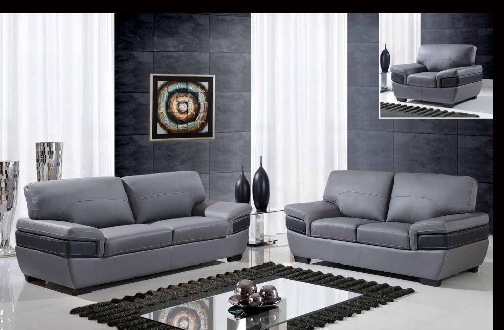 leather contemporary dark gray and black three piece sofa set