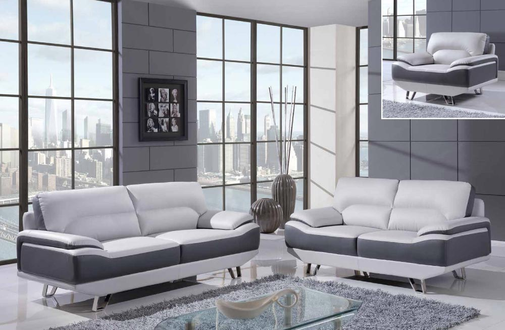 white and gray 3 piece bonded leather sofa set with chrome legs