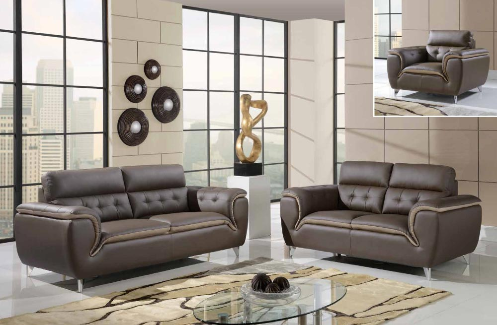 Dark khaki and cappuccino contemporary 3 piece bonded for Cheap living room furniture sets