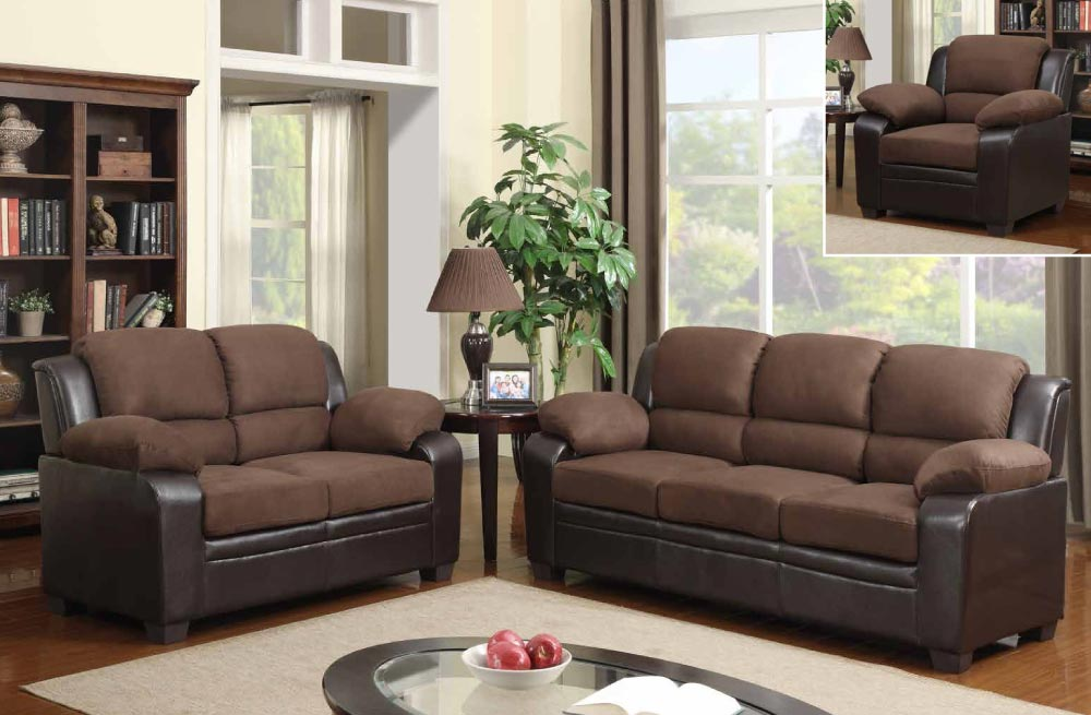 Contemporary two tone sofa set upholstered in chocolate for Affordable living room furniture sets