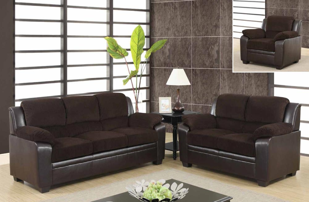 Contemporary two tone sofa set upholstered in chocolate for Cheap room furniture sets