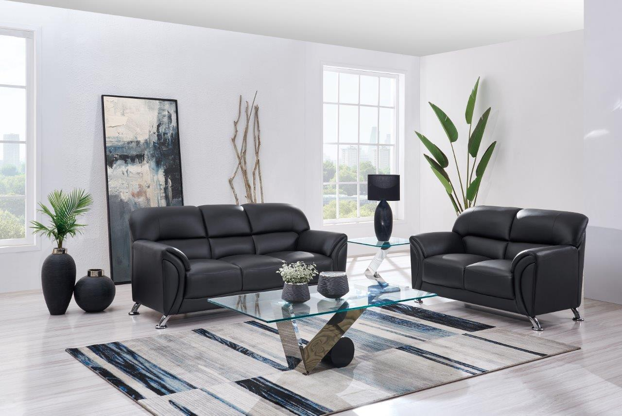 Stylish 3Pc Sofa Set on Chrome Legs in Black or Grey with Black