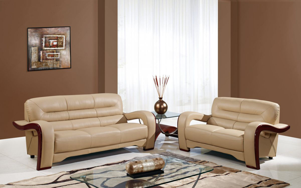Contemporary biege leather living room set with mahogany trimming