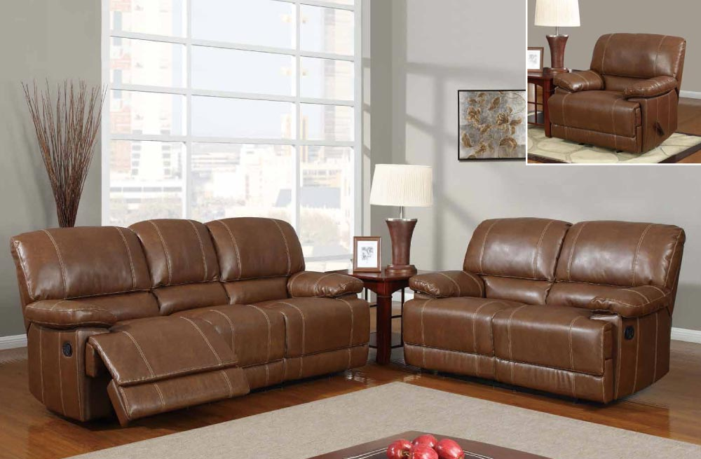 Stylish brown traditional 3pc reclining sofa set oklahoma for Quality living room sets