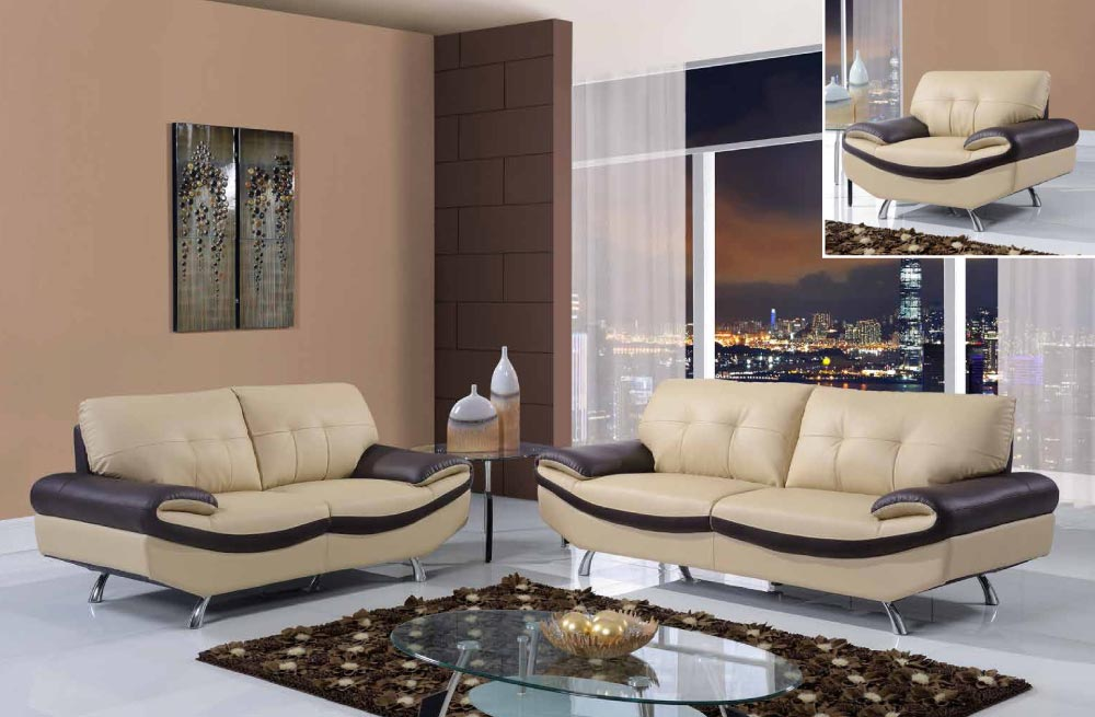 Quality Bonded Leather Modern Designer Sofas Cuccino And Chocolate 3 Piece Sofa Set