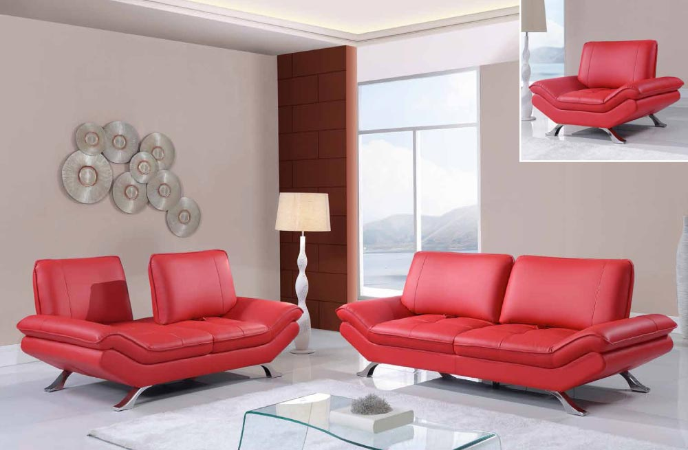 Black Or Red Leather 3 Piece Sofa Set With Adjustable