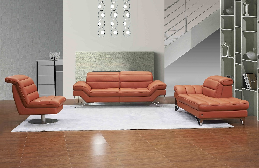 Quality Contemporary Orange or Chocolate Brown 3Pc Sofa Set with Swivel  Chair