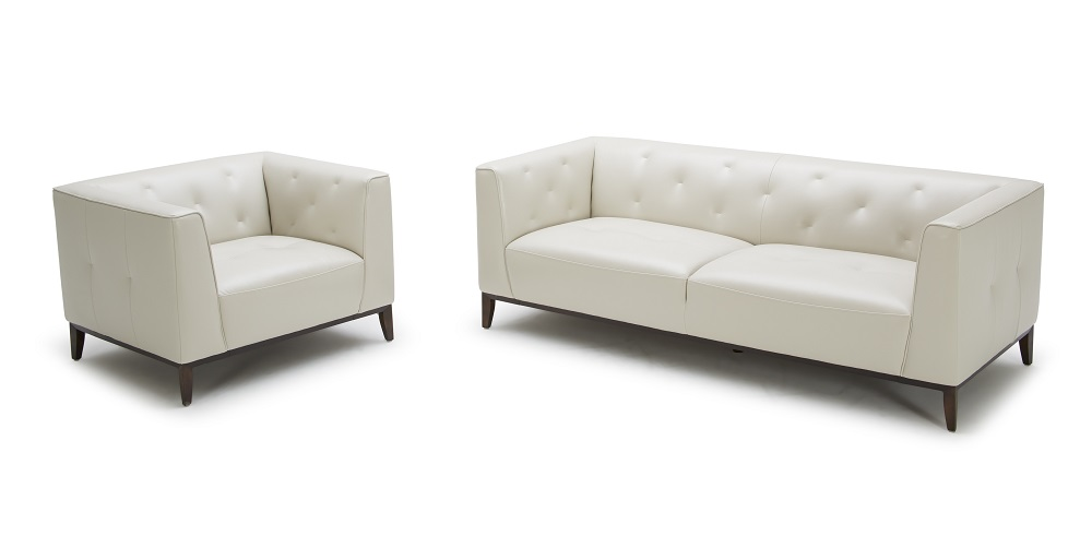 Trendy White Two Piece Sofa And Chair Set With Tufted