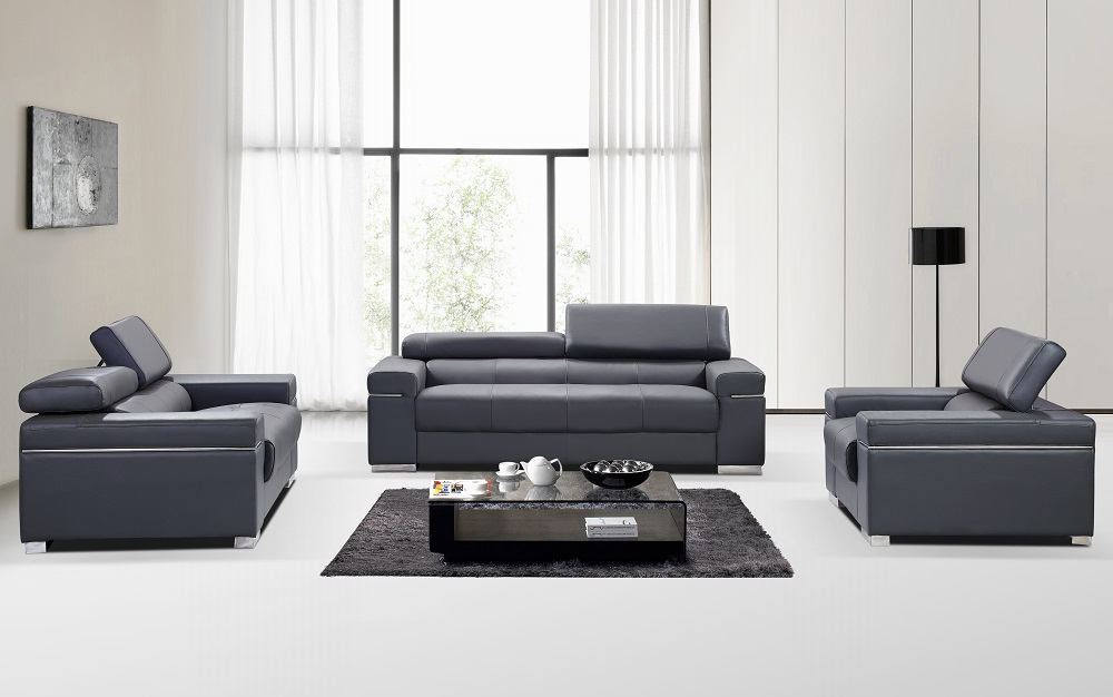 Contemporary grey italian leather sofa set with adjustable for Living room set design