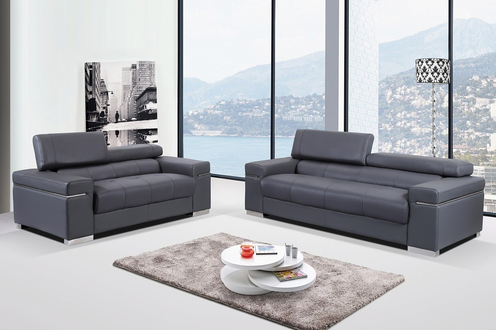 Contemporary Grey Italian Leather Sofa Set with Adjustable Headrest ...