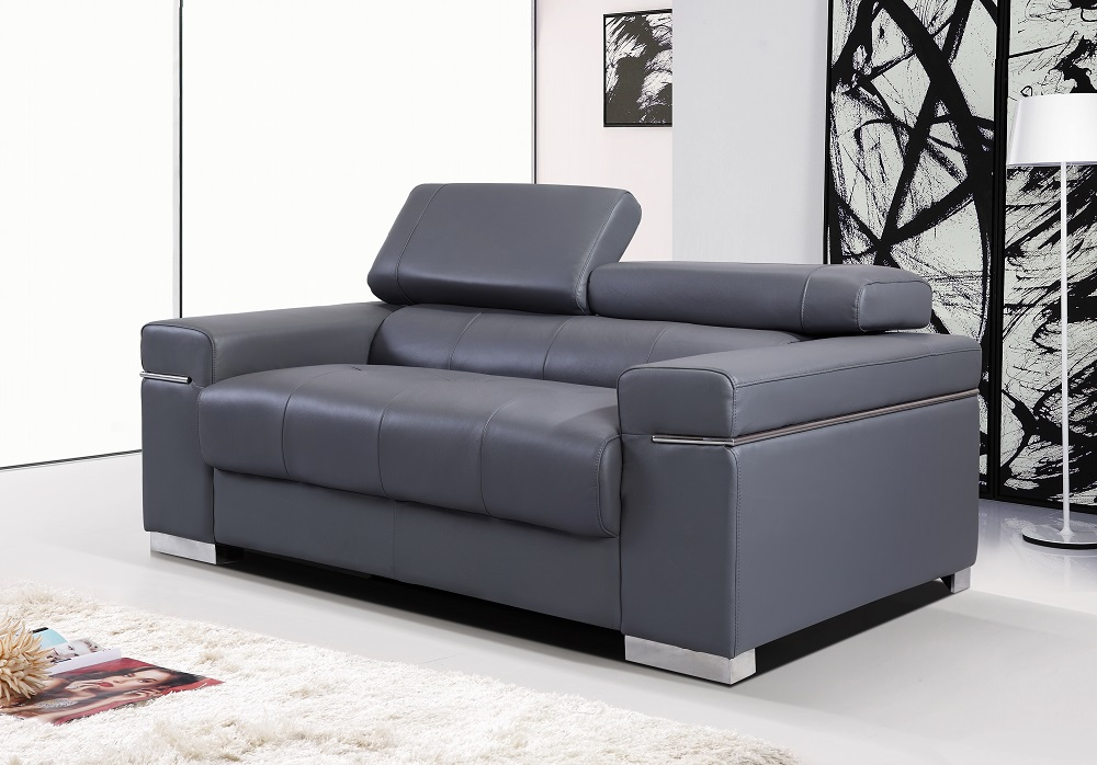 Contemporary Grey Italian Leather Sofa Set with Adjustable Headrest - Click Image to Close