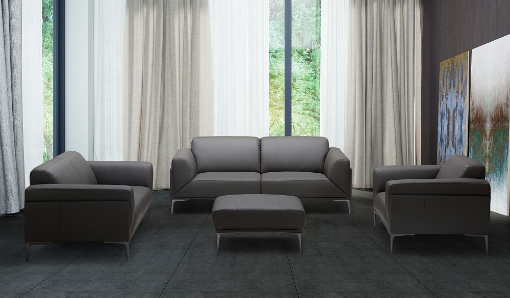 High quality leather three piece sofa set chicago illinois j m king for Gray leather living room furniture