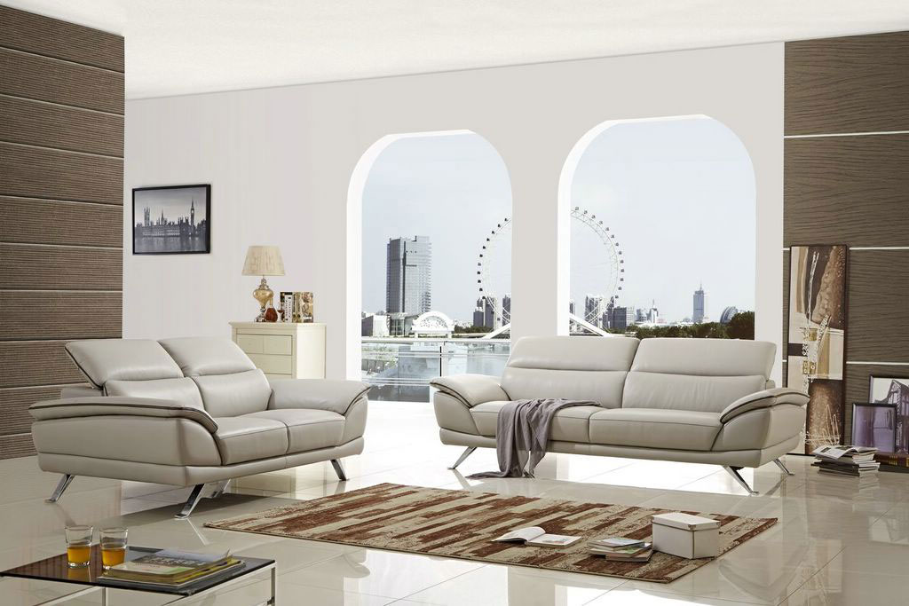 Amazing Three Piece Beige Leather Living Room Set Columbus