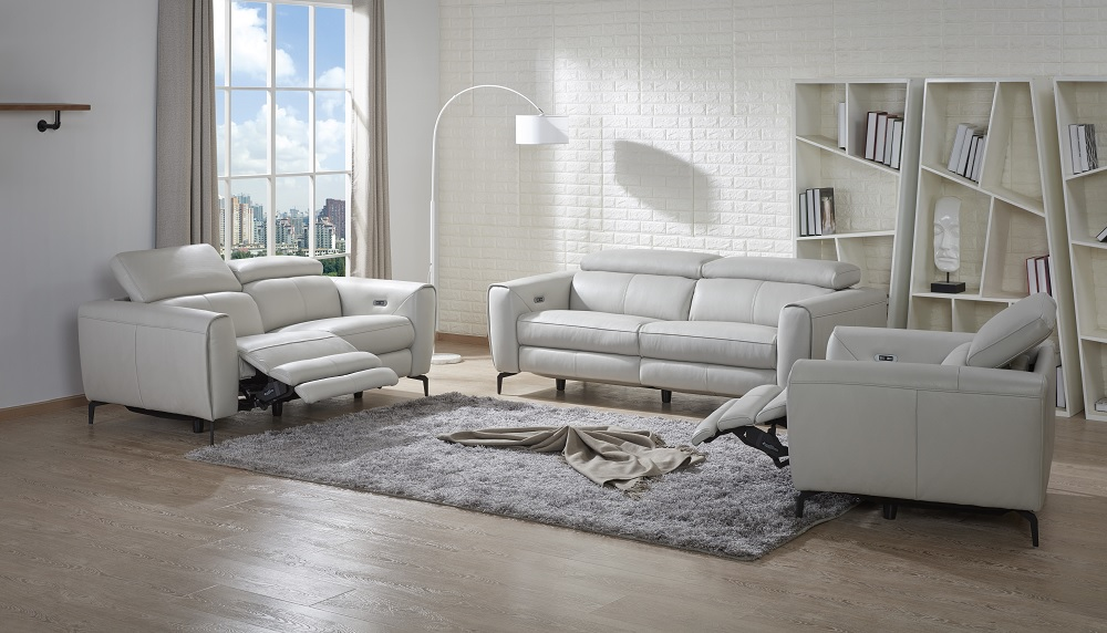 Genuine Italian Leather Sofa Set With Recliner Seats Omaha