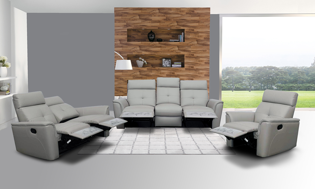 Elegant Leather Living Room Set with Tufted Stitching Elements