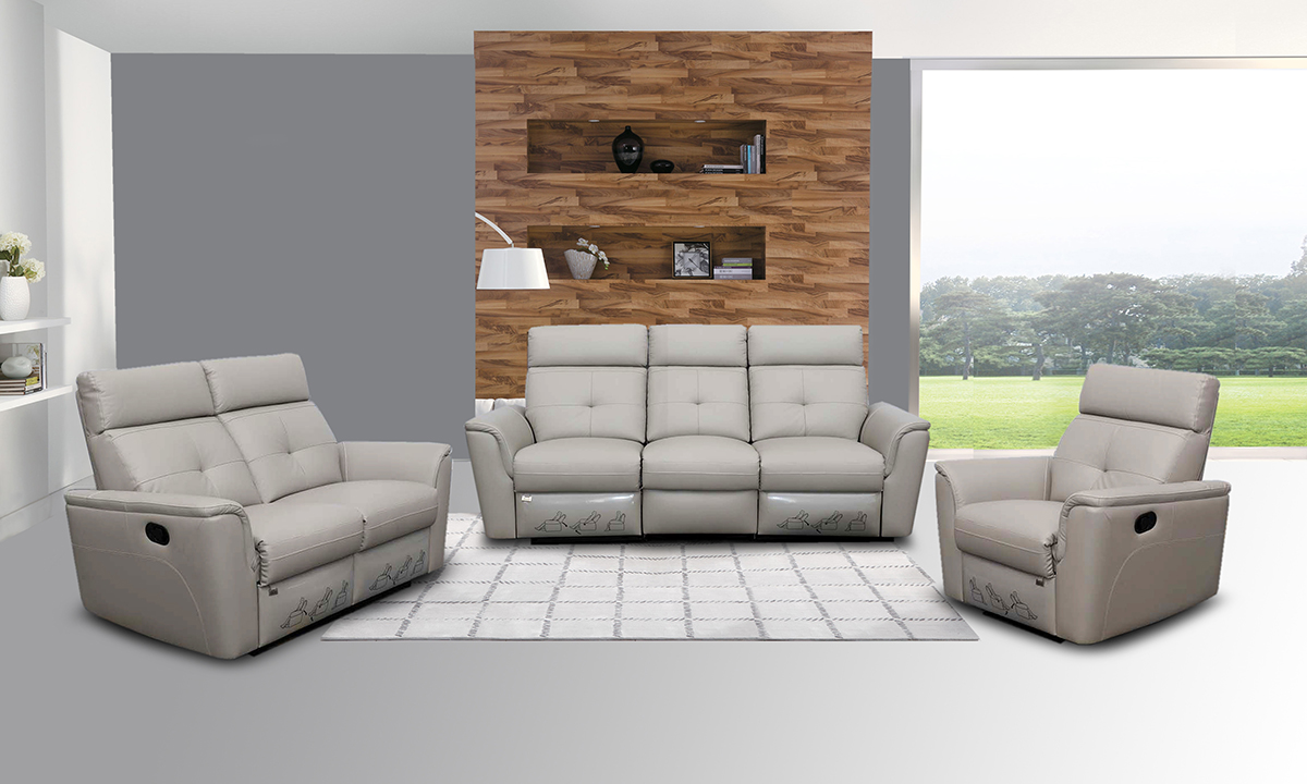 Elegant Leather Living Room Set With Tufted Stitching