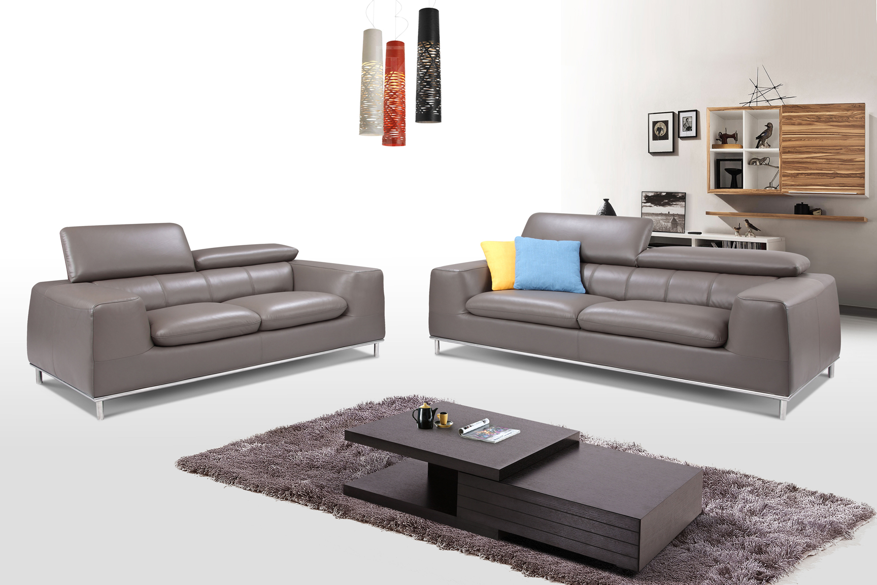 Modern Three Piece Light Gray Leather Living Room Set Austin Texas Esf Fd2197