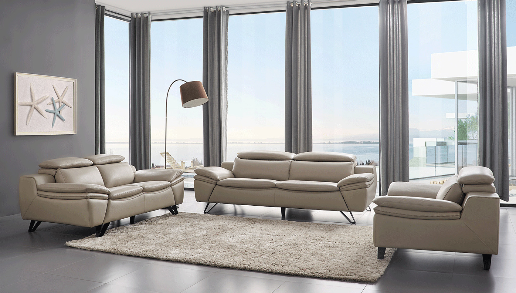 Grey Leather Contemporary Living Room Set