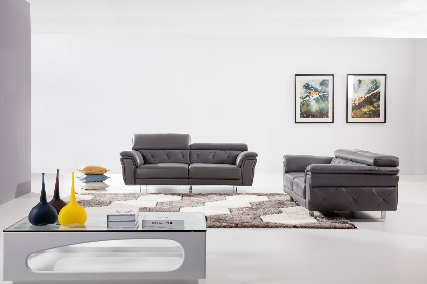 Modern light grey top grain leather three piece living for Three piece leather living room set