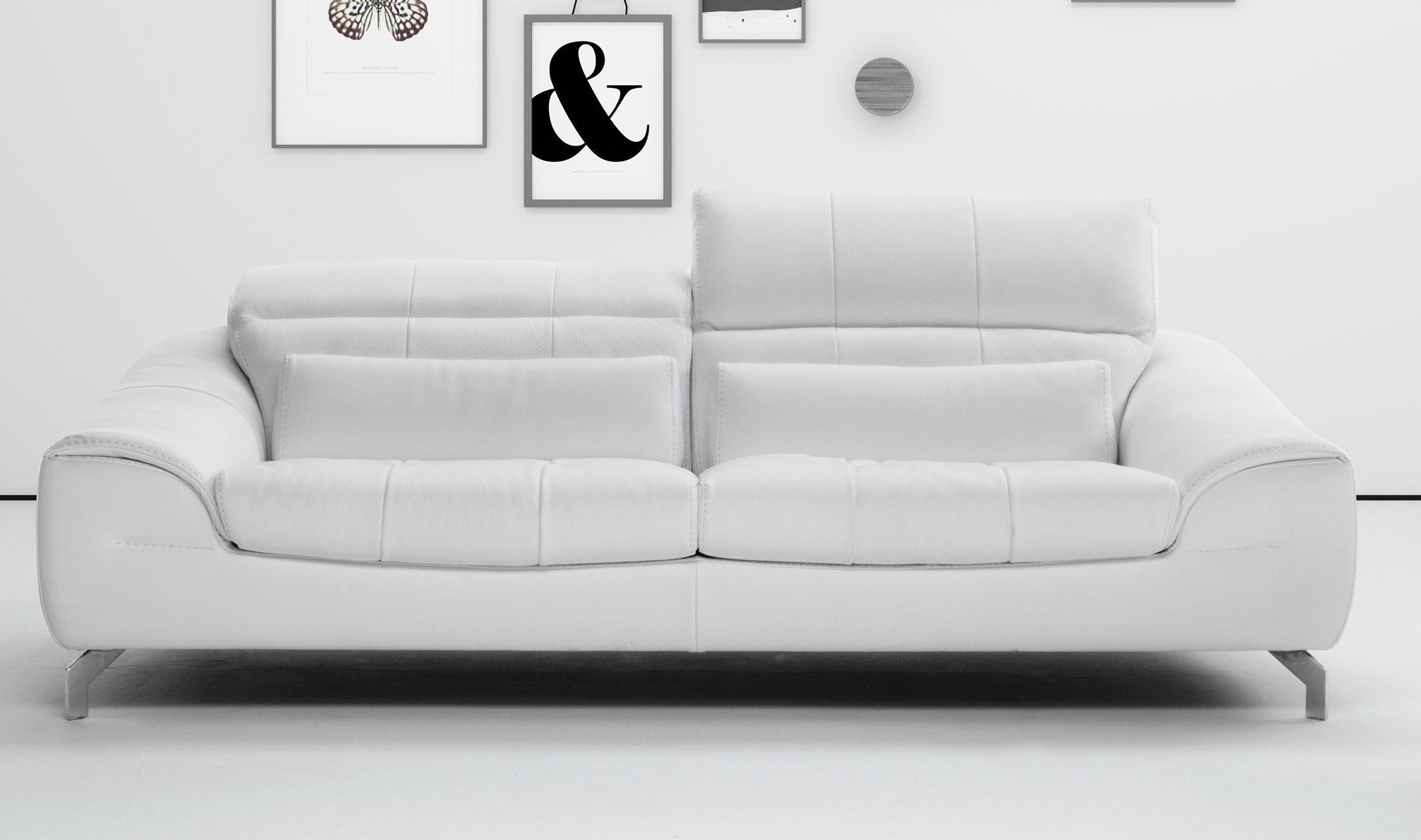 White Sofa Set In Soft Leather With Color Options San