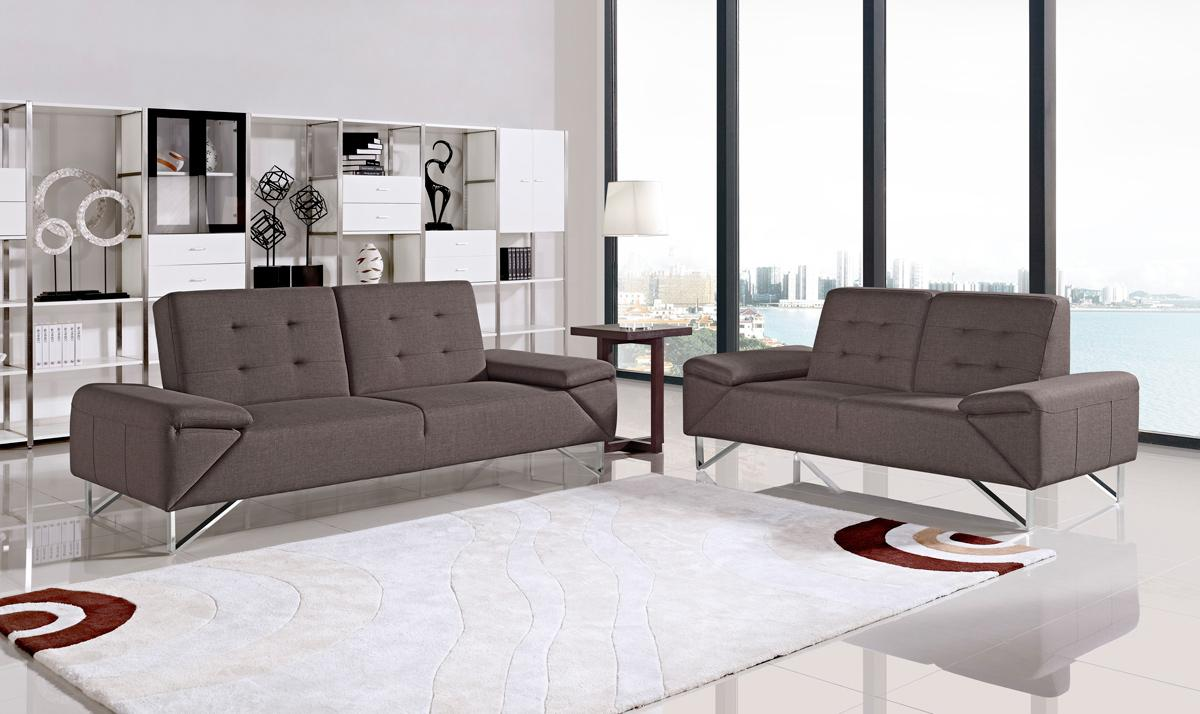 Contemporary Brown Fabric Two Piece Sofa Bed Set San