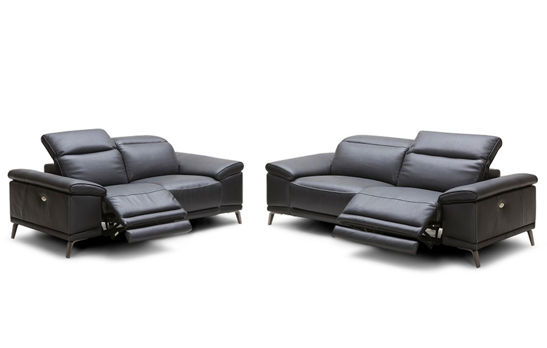 Functional Premium Black Leather Sofa Set