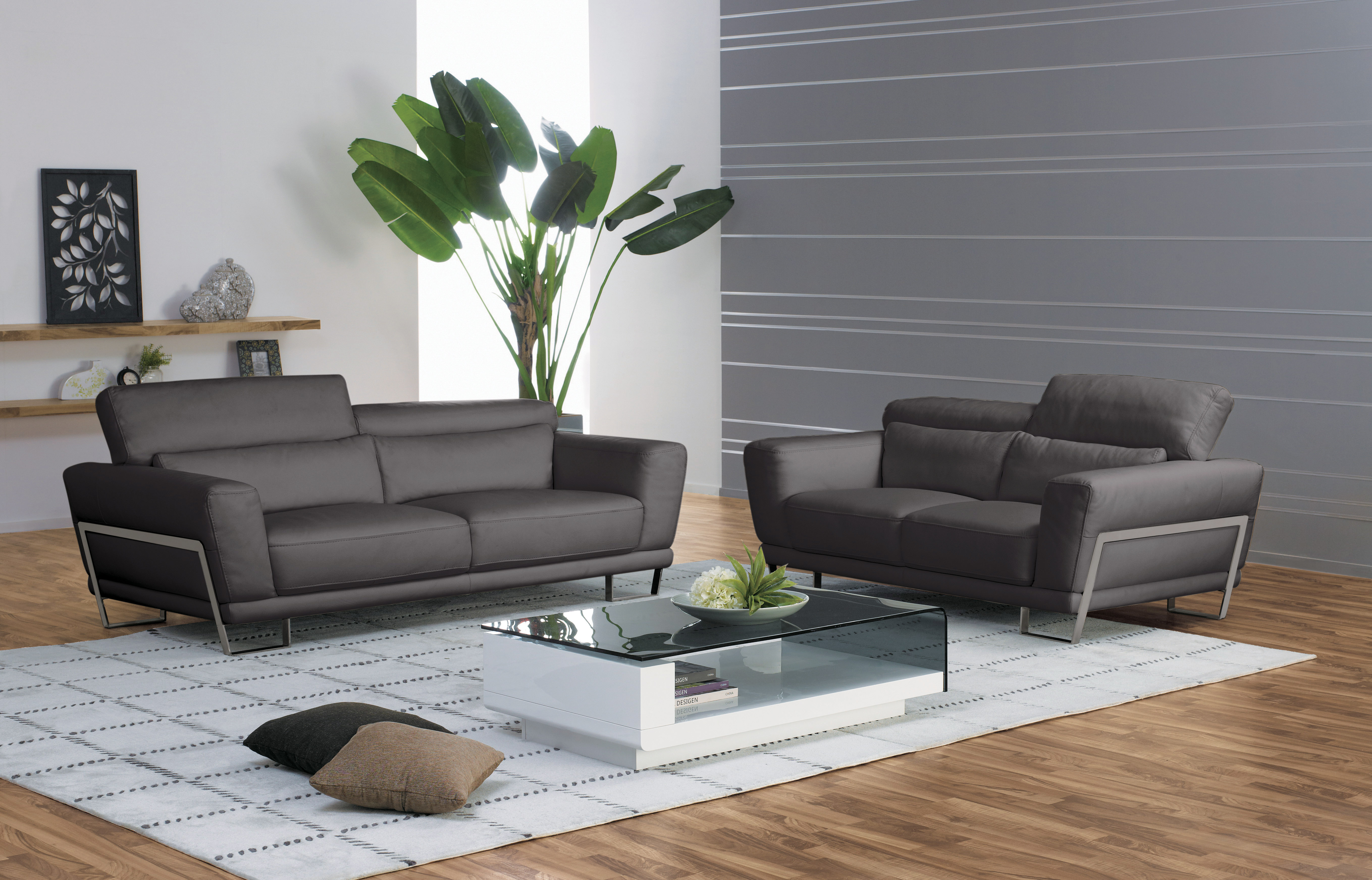 Genuine And Italian Leather Modern Designer Sofas 3 Pc Clic Living Room Set