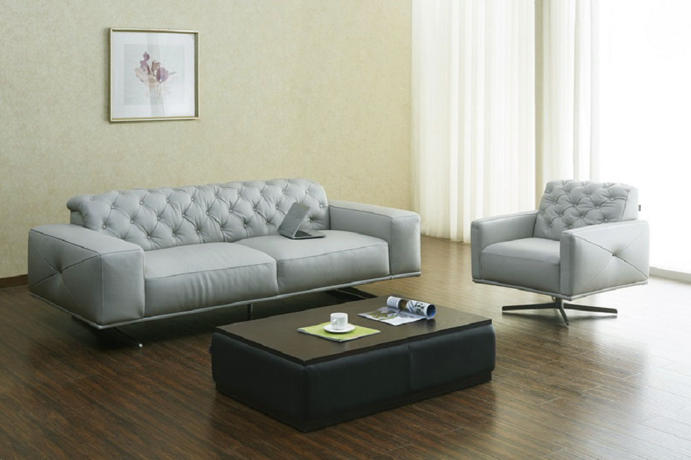 Top Grain Italian Leather Contemporary Sofa Set