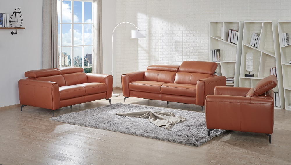 Caramel Color Leather Three Piece Sofa Set Portland Oregon J&M ...