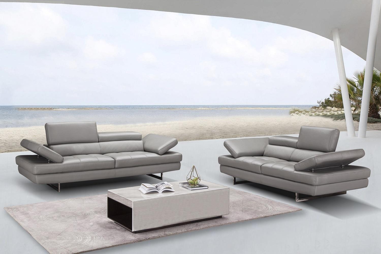 Manhattan Contemporary Italian Leather 5 PCs Sofa Set