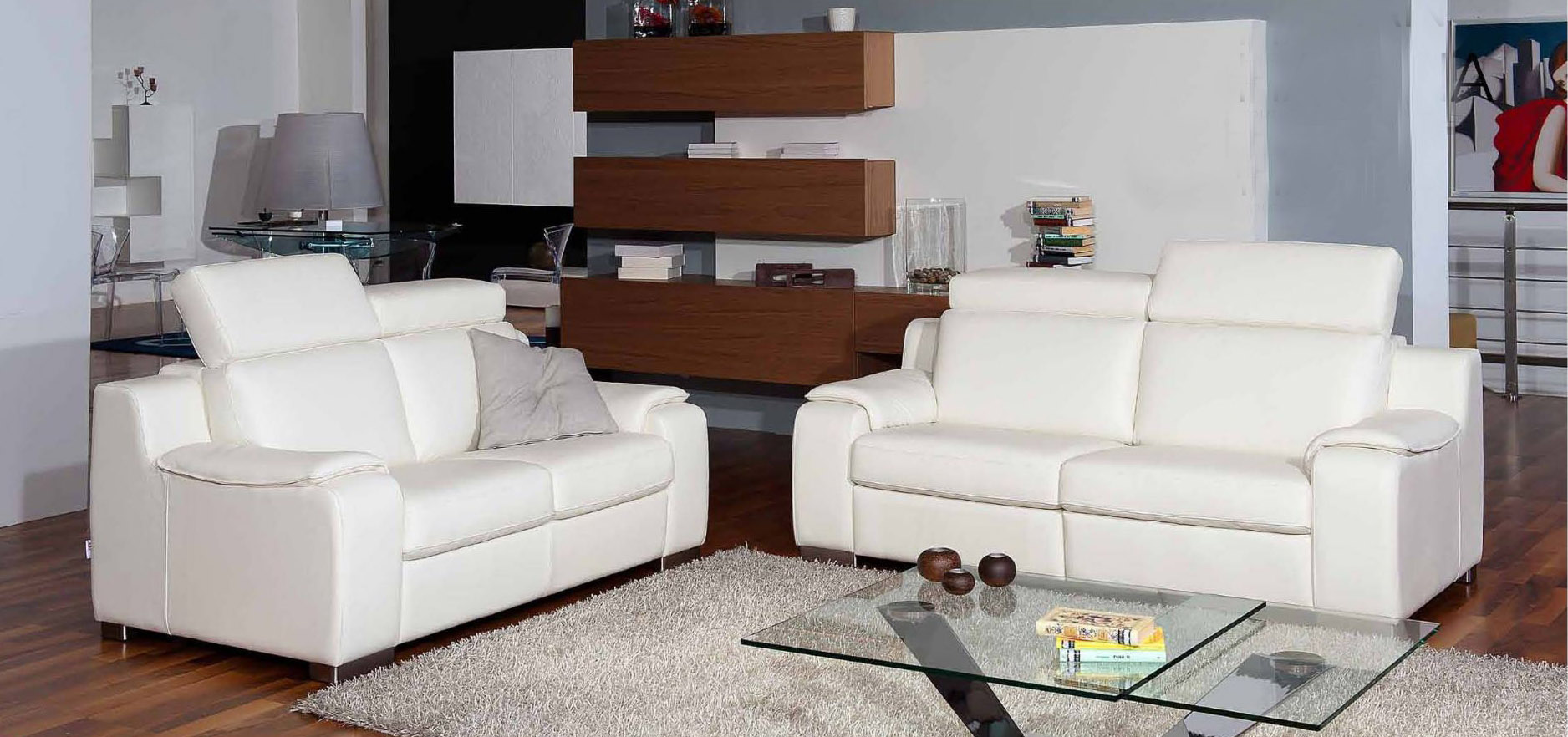 Contemporary White Leather Living Room Sofa Set Miami