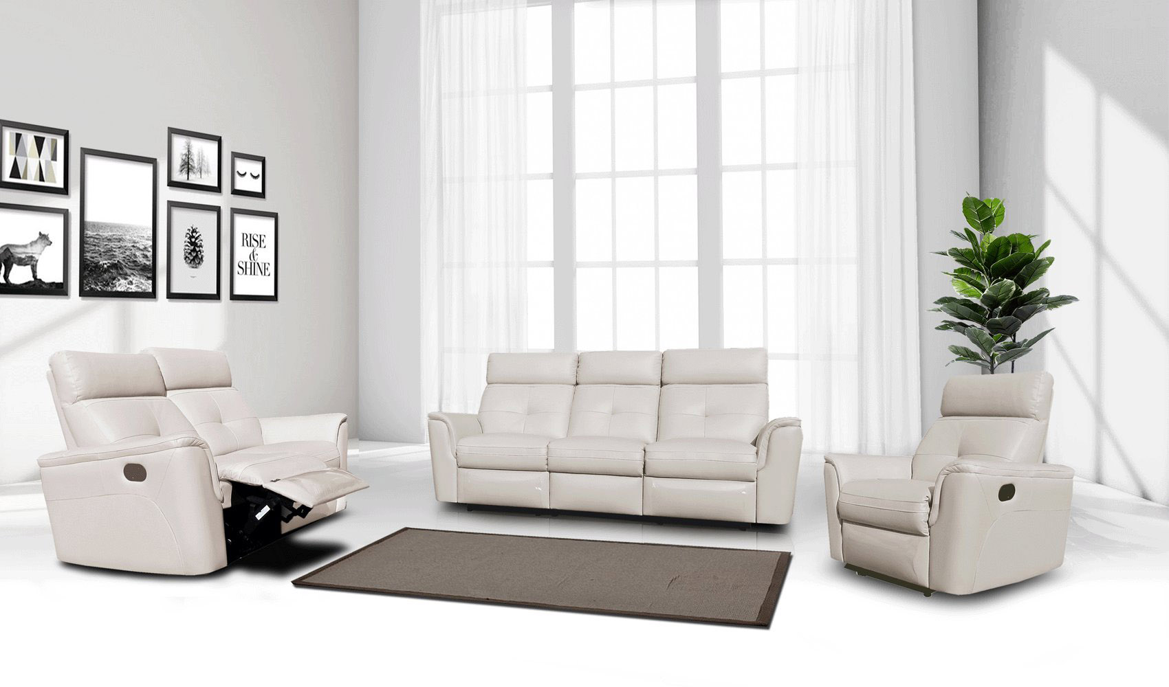 Contemporary Arizona Leather Living Room Set Palm Beach