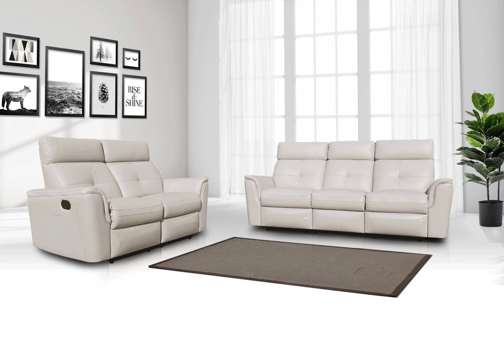 Contemporary Arizona Leather Living Room Set